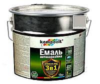 """Эмаль-грунт акриловая KOMPOZIT """"3 в 1"""" антикоррозионная серебристая, 10кг"""