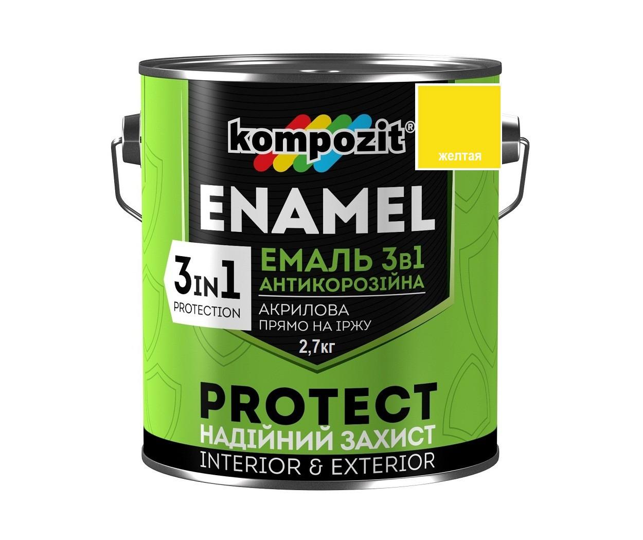 """Эмаль-грунт акриловая KOMPOZIT """"3 в 1 PROTECT"""" для металла и оцинковки желтая 2,7кг"""