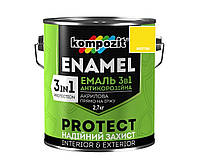 """Эмаль-грунт акриловая KOMPOZIT """"3 в 1"""" антикоррозионная желтая, 2,7кг"""