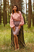 Вышиванка женская из льна пудрово-розовая
