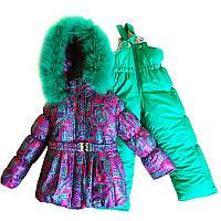 Зимний комбинезон для девочки штаны и куртка зеленый