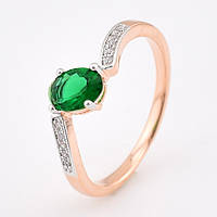 """Кольцо """"Малибу"""" с родированием 54616 размер 20, зелёные камни, позолота РО"""