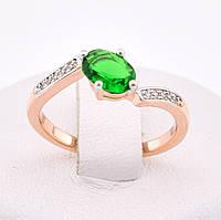 """Кольцо """"Малибу"""" с родированием 54616 размер 19, зелёные камни, позолота РО"""