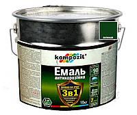 """Эмаль-грунт акриловая KOMPOZIT """"3 в 1"""" антикоррозионная зеленая, 10кг"""