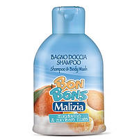 MALIZIA шампунь-гель для душа мандарин и сахарная вата, BON BONS, MIRATO (500 мл) Италия