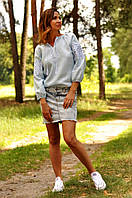 Вышиванка женская хлопковая светло-голубая, фото 1
