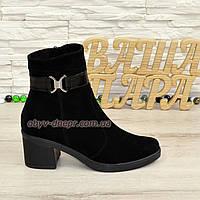 Полуботинки черные женские зимние замшевые на невысоком каблуке