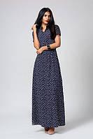 Синие длинное платье в мелкий принт