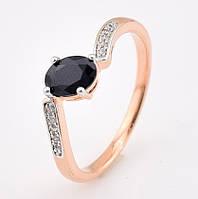 """Кольцо """"Малибу"""" с родированием 54616 размер 17, чёрные камни, позолота РО"""