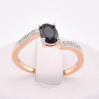"""Кольцо """"Малибу"""" с родированием 54616 размер 20, чёрные камни, позолота РО"""