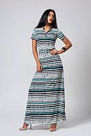Длинное платье в горизонтальную цветную полоску