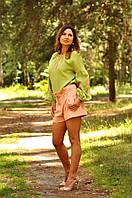 Вышиванка женская из льна светло-зеленая