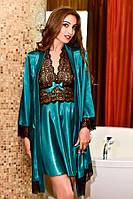 Домашний атласный халат с пеньюаром изумруд Шанталь