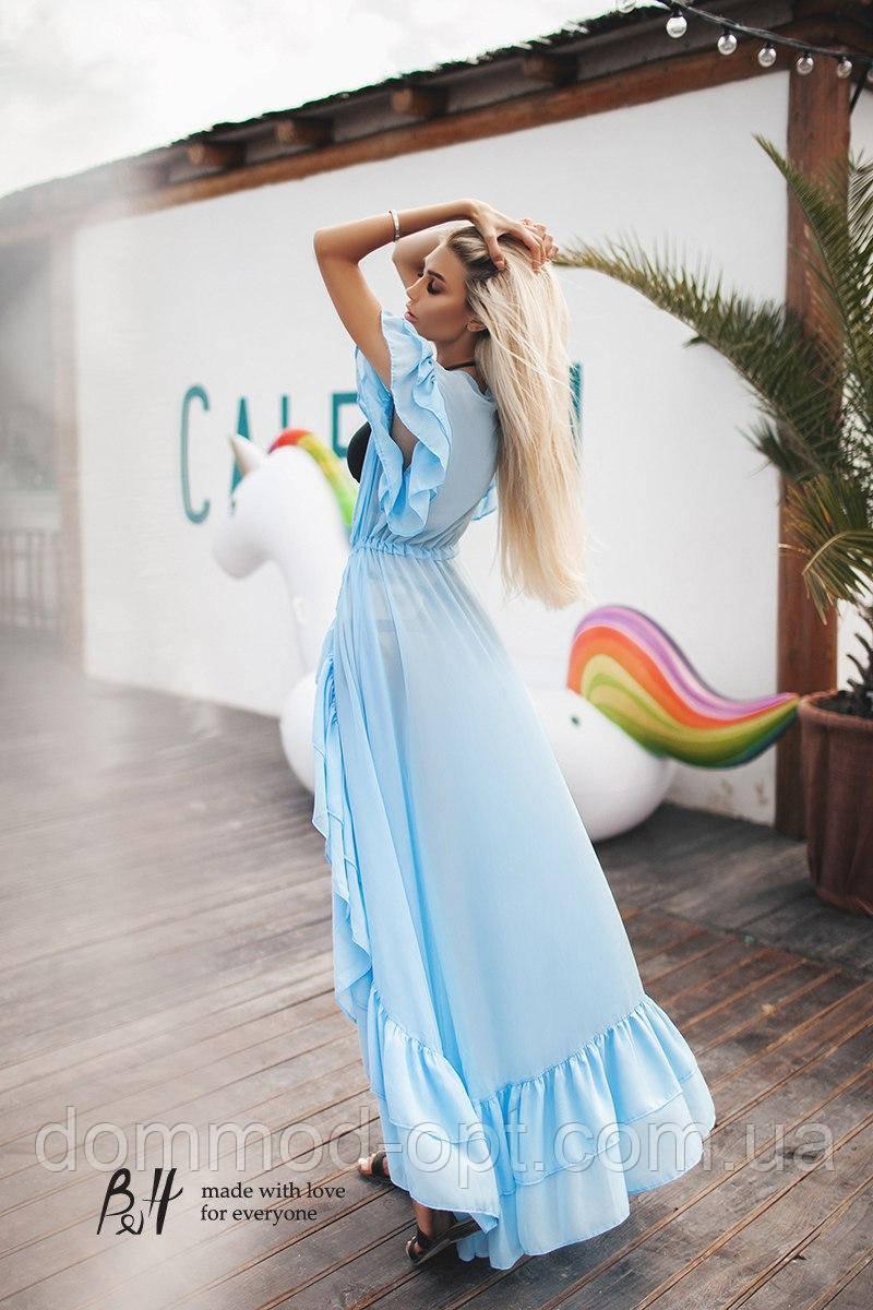 Женская длинная пляжная туника с оборками 0164 / голубая