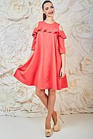 Коктейльное Платье Коралловое с воланом Амира Размер 42-48 Бавовна - 46%; Поліестер - 52%; Еластан