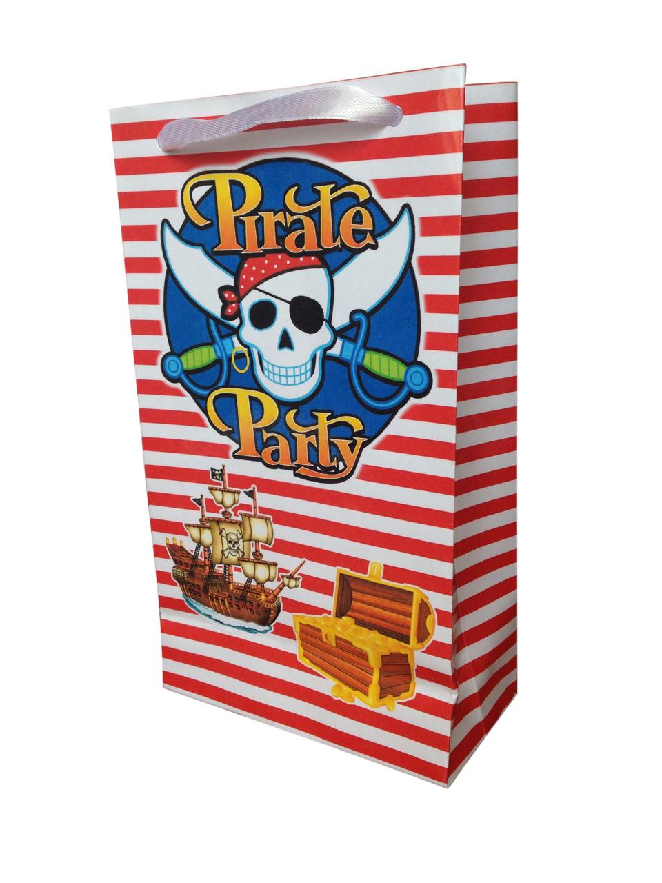 """Пакет подарочный из бумаги 21*12*6 см """"Пиратская Вечеринка"""""""