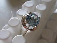 Кольцо из серебра с золотом и НАТУРАЛЬНЫМ ТОПАЗОМ