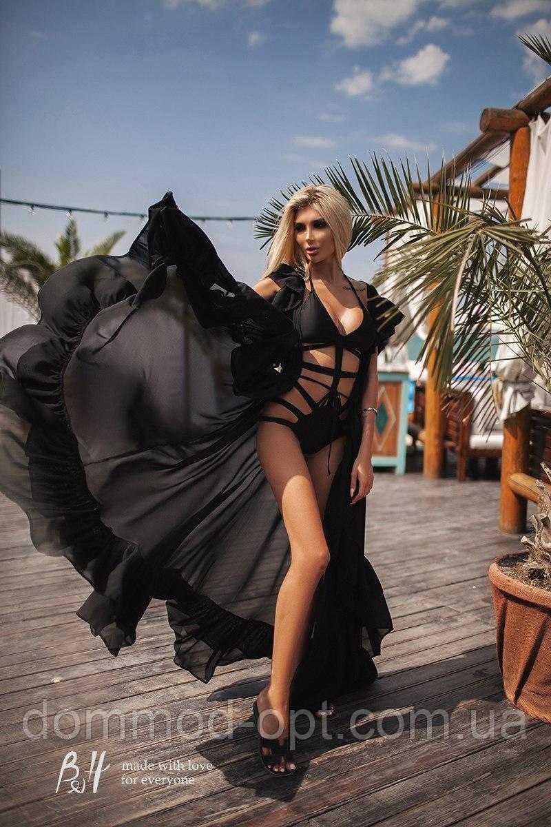 9c1229e1dc127 Женская длинная пляжная туника с оборками 0164 / черная - Дом Мод в Одессе