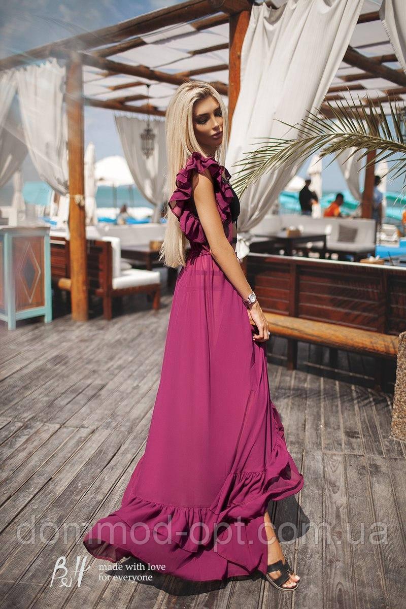 7d951db983a Женская длинная пляжная туника с оборками 0164   фуксия - Дом Мод в Одессе