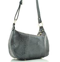 Женская сумка 2417 серая c принтом под рептилию