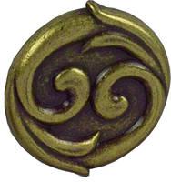 WPO634.031.00D1 Ручка мебельная РГ 194 старое золото накладная кнопка - металлическая Италия GIUSTI