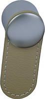 РК483 Ручка мебельная РК-483 капучино накладная кнопка - металл+кожа Китай Falso Stile