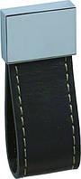 РК230 Ручка мебельная РК-230 кожа черная накладная кнопка - металл+кожа Китай Falso Stile