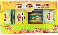 Подарочный набор чай 3 шт Lipton с медом 250 г (Украина)