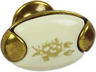 РК324 Ручка мебельная РК-324 старое золото+декор накладная кнопка - металл+керамика Китай Falso Stile