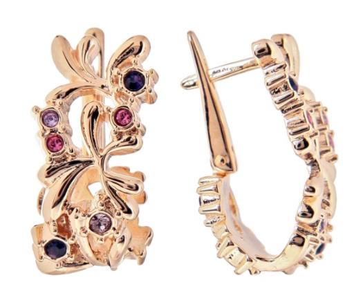 """Серьги """"Лаунг"""" с кристаллами Swarovski, покрытые золотом (h854p150)"""
