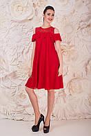 Модное Платье Красное Лунет Размер 44-48 Поліестер - 87%; Еластан 13%;