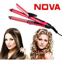 Утюжок выпрямитель плойка для укладки волос 2 в 1 Nova 2009