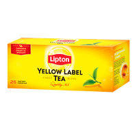 Черный чай Lipton Yellow Label 25 пакетиков, 50 г (Украина)