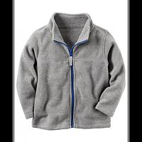 Флисовая кофта, свитер, реглан поддева Carters для мальчика серая на молнии, Размер 8, Размер 8