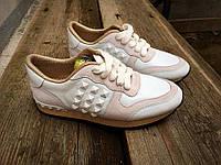 Женские Кожаные кроссовки Valentino белые