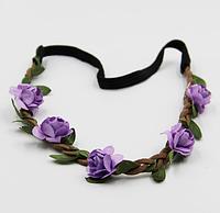 Венок для волос на голову Фиолетовые розы
