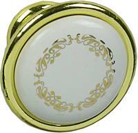 P07.00.22.06 Ручка мебельная РГ 122 золото+белый с рисунком накладная кнопка - металлическая Италия GIUSTI