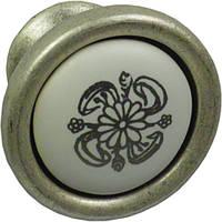 P17.20.A9.15G Ручка мебельная РГ 25 старое серебро+белый мат с рисунком накладная кнопка - металлическая Италия GIUSTI