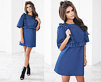 Платье женское синие джинсовое с воланами ТК/-01112