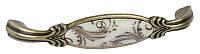 M78.01.H2.D1G Ручка мебельная РГ 513 золото старое+слоновая кость с рисунком накладная 128мм - металлическая Италия GIUSTI