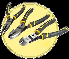 Плоскогубці бокорізи рулетки ножиці по металу зубила та ін.