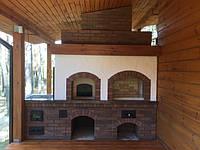 Комплекс: русская печь с мангалом и приставной печью под казан для плова. Облицовка: деревянная полка, мазанка, облицовочный кирпич