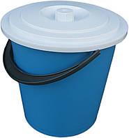"""Ведро пластиковое 10 литров цветное хозяйственное с крышкой """"Юнипласт"""", фото 1"""