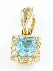"""Підвіска золота з топазом """"Swiss Blue"""""""