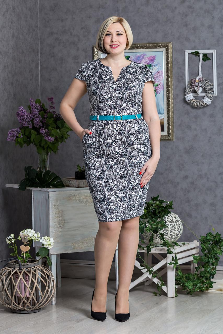 Красивое повседневное женское платье с поясом
