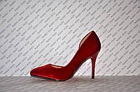 Туфли лодочки с вырезом на шпильке темно-красные велюр