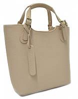 Женская кожаная сумка 19219 бежевая