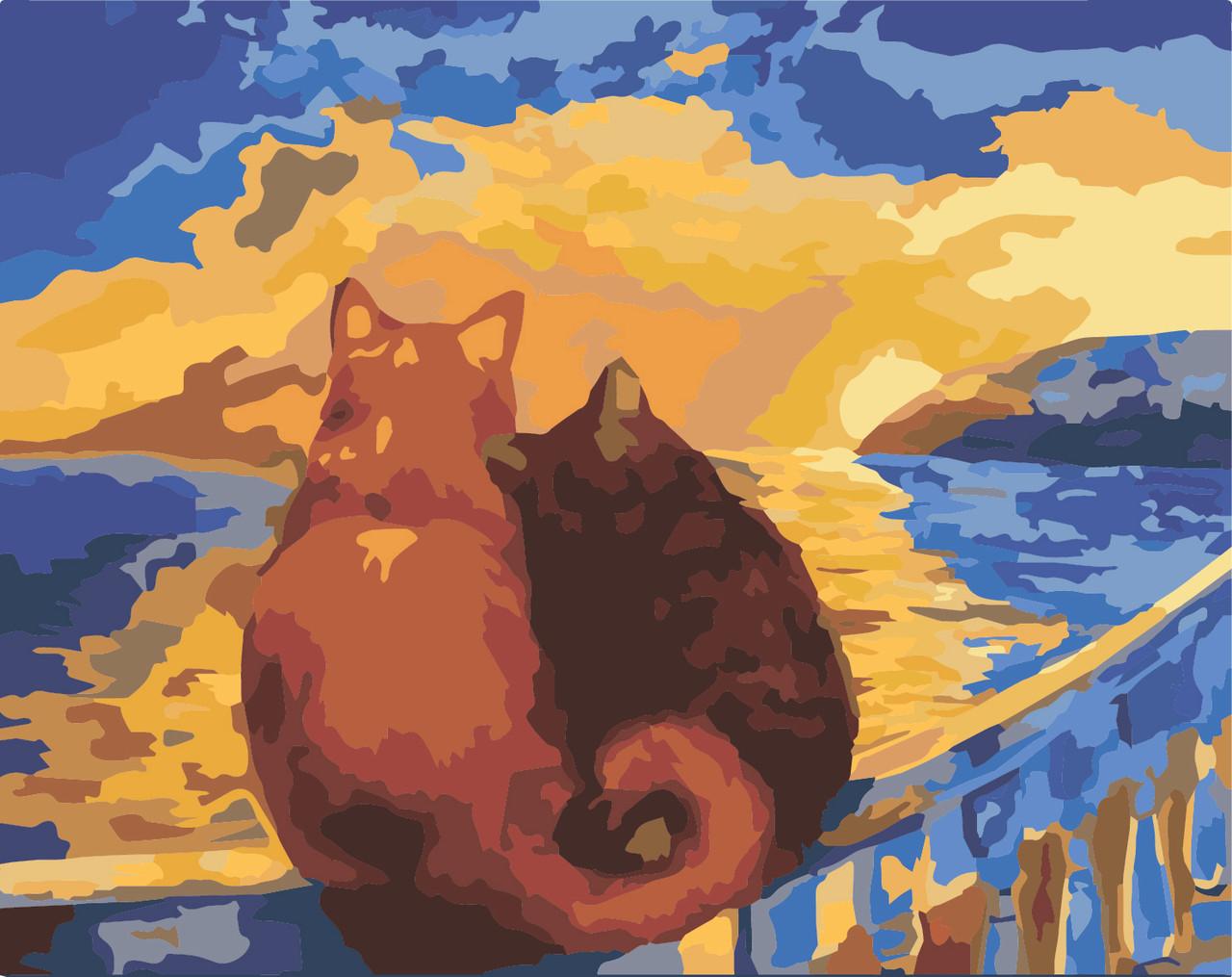 Живопись по номерам Идейка Коты на закате (KHO2438) 40 х 50 см (без коробки)