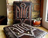 Ежедневник блокнот кожаная обложка герб тризуб ручная работа формат а5 оригинальный подарок, фото 8
