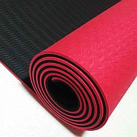 Коврик для йоги и аэробики 1830х610х6 мм ТРЕ+ТС двухцветный, фото 1